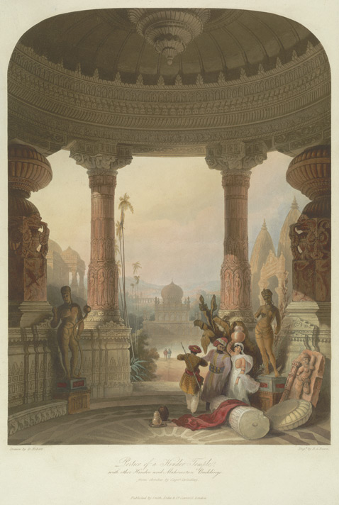 Portico of a Hindoo Temple, with other Hindoo and Mohamedan buildings